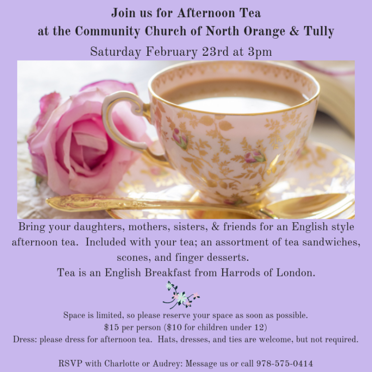 Join us for Afternoon Tea at the Community Church of North Orange & Tully
